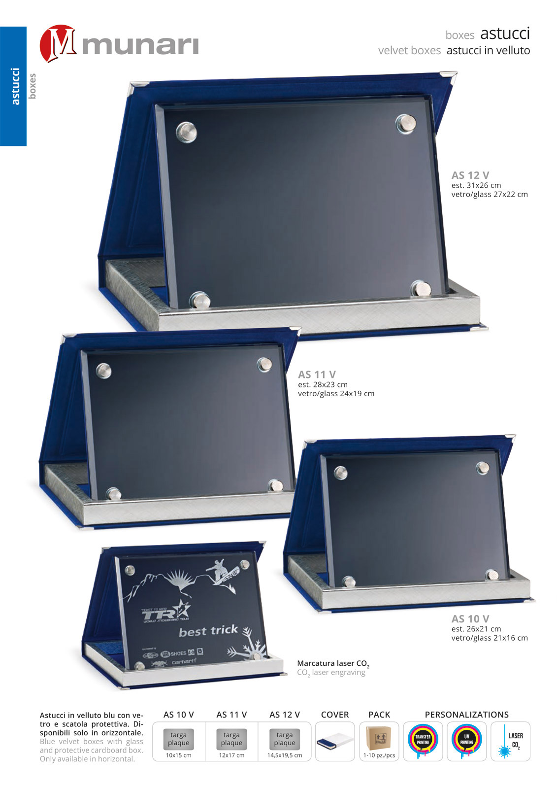 Astucci in velluto blu con vetro serie AS 10V