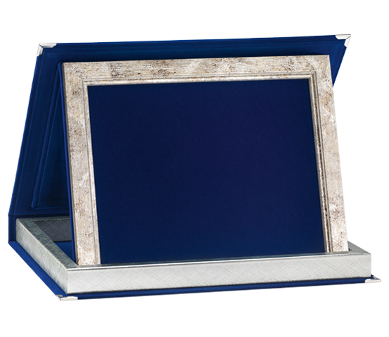 Astucci in velluto blu con profilo legno per targhe serie AS 41