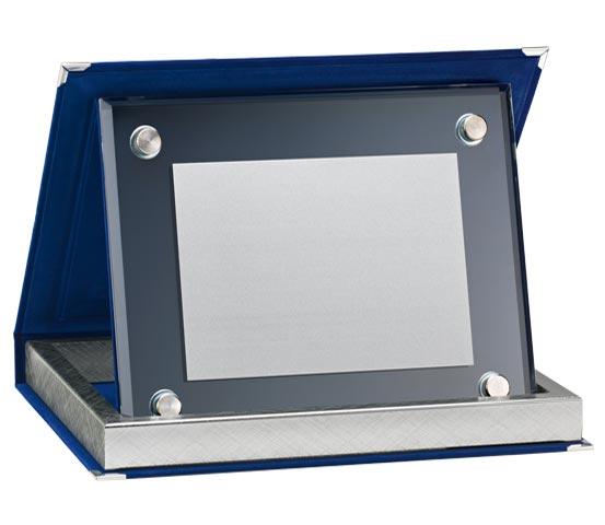 Astucci in velluto blu con vetro satinato serie AS 10VS
