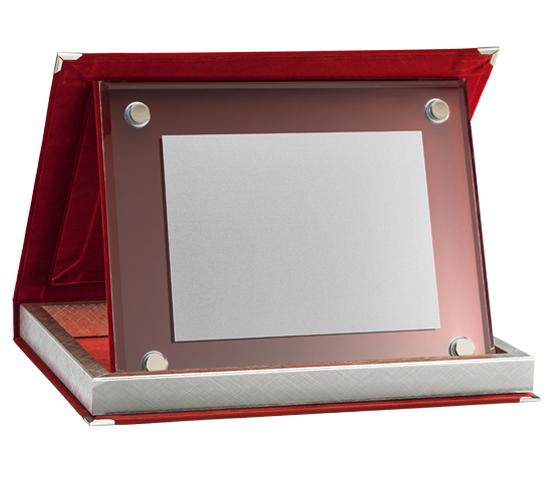 Astucci in velluto rosso con vetro satinato serie AS 10RVS