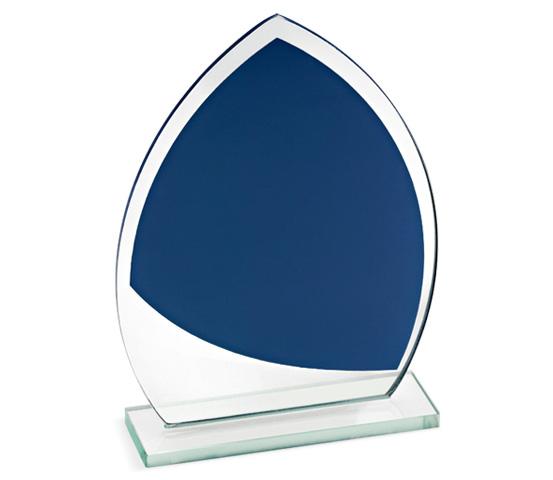 Porta targa in vetro blu con base serie CRI 2200
