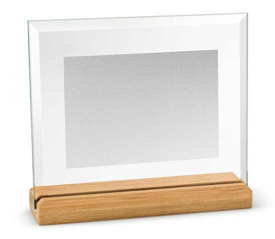 Porta targa in vetro satinato con base in bamboo serie CRI 3400 S
