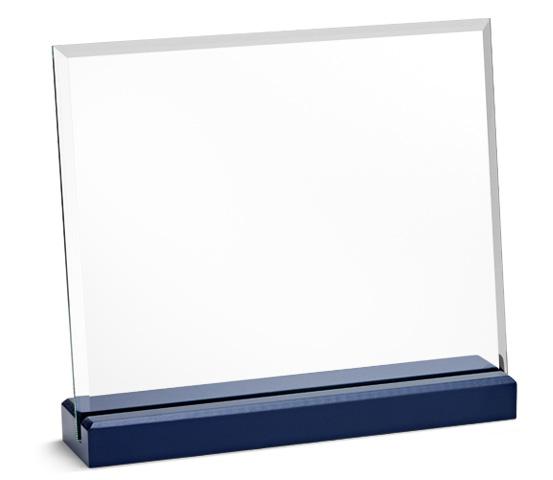 Porta targa in vetro trasparente con base in legno serie CRI 1400 N