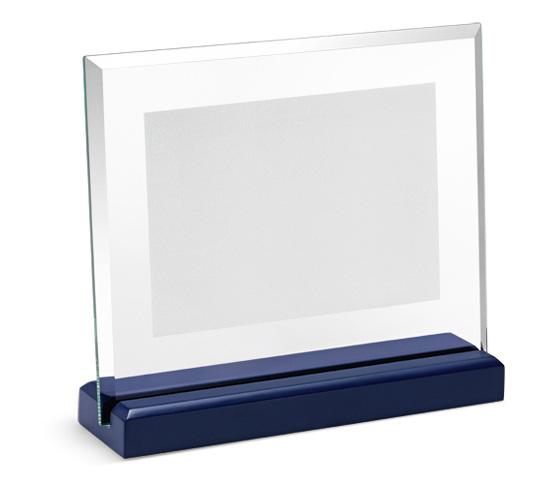 Porta targa in vetro satinato base in legno serie CRI 1400 S