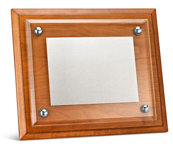 Porta targa in legno e vetro satinato serie PTL 100VS