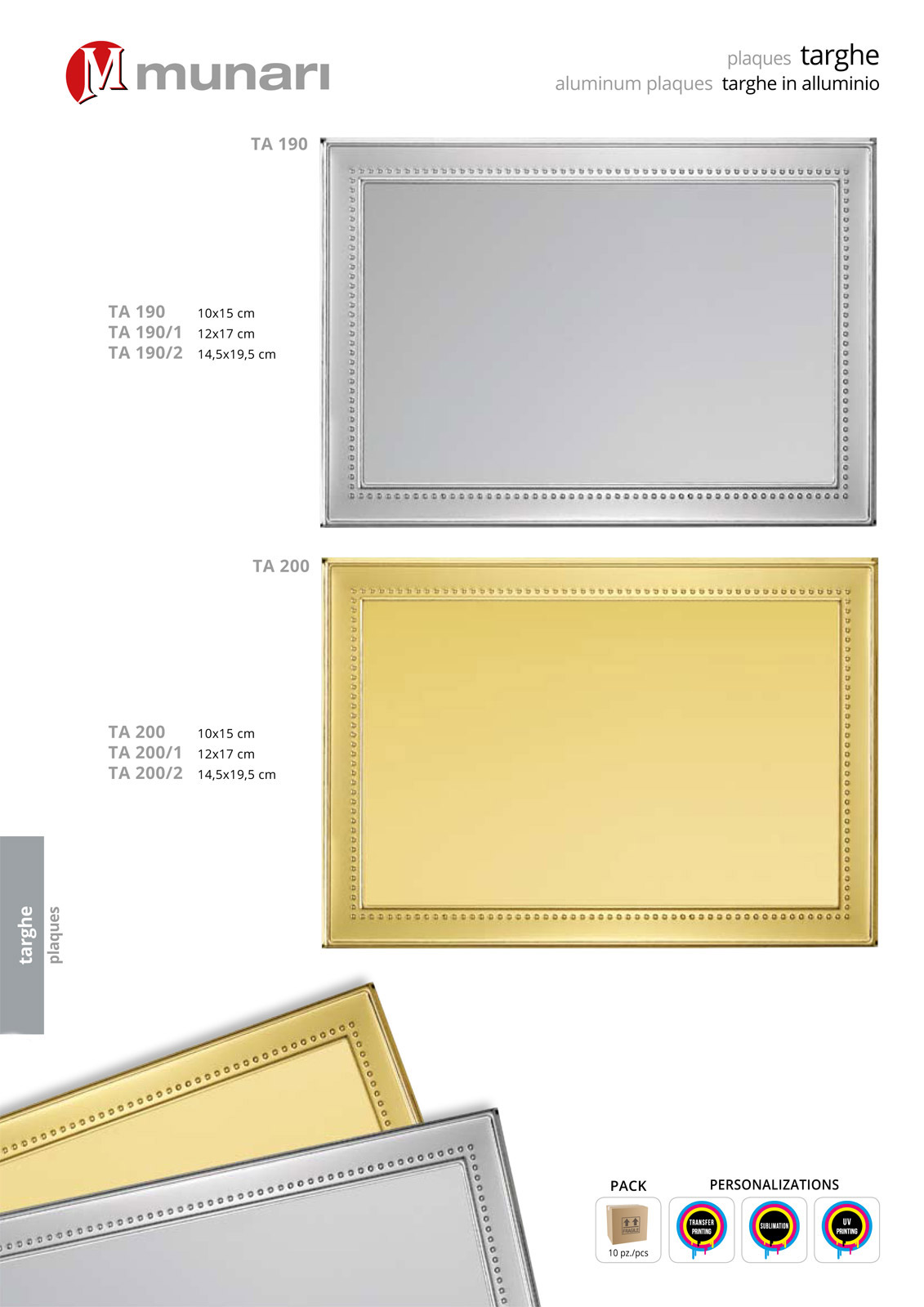 Aluminum plaques for sublimation or transfer printing series TA 200