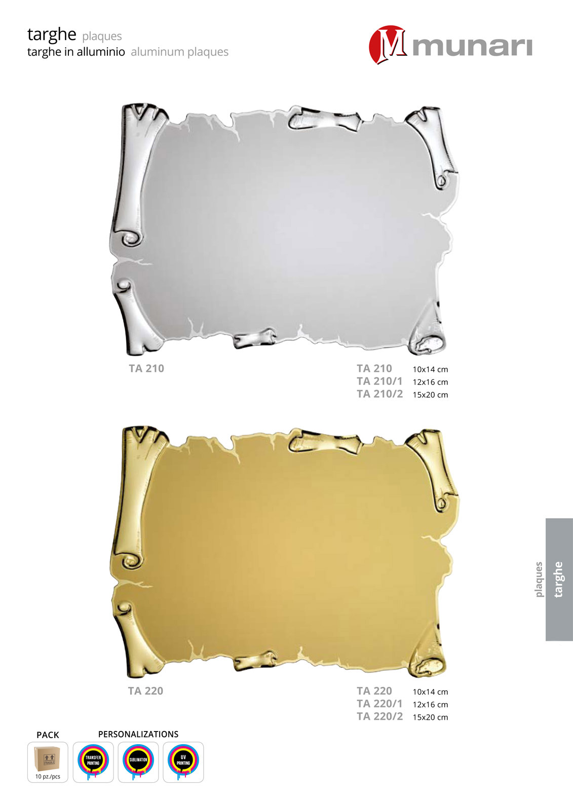 Aluminum plaques for sublimation or transfer printing series TA 210