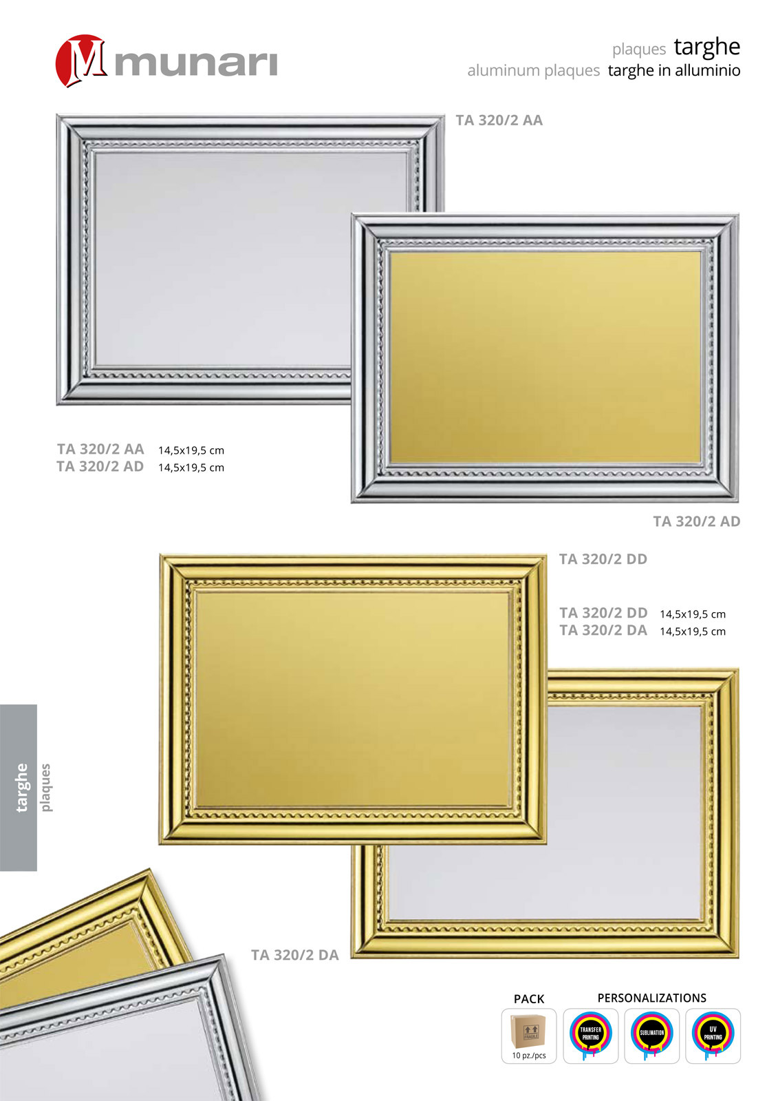 Aluminum plaques for sublimation or transfer printing series TA 320A