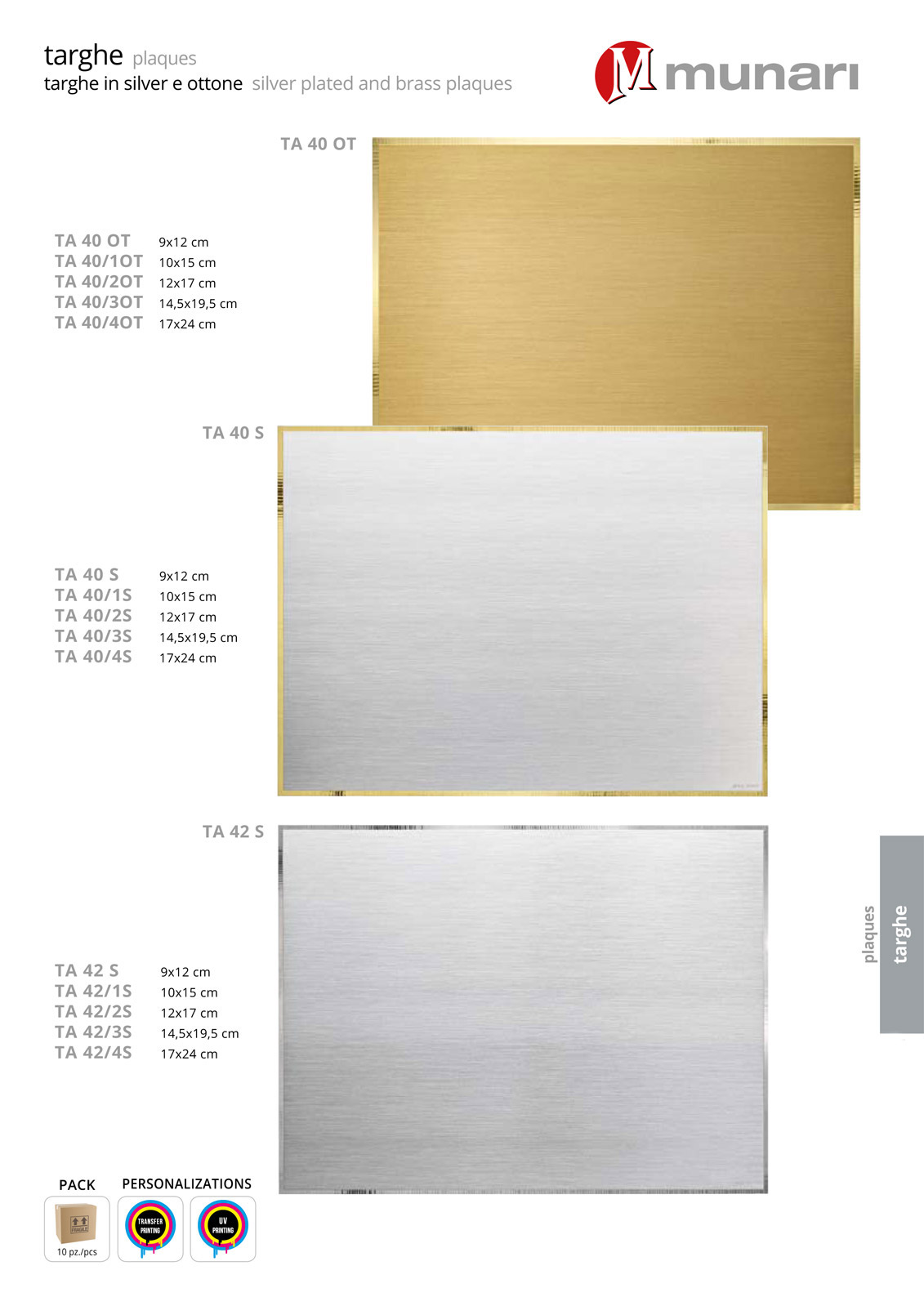 Silver plate  plaques for printing and engraving series TA 40S