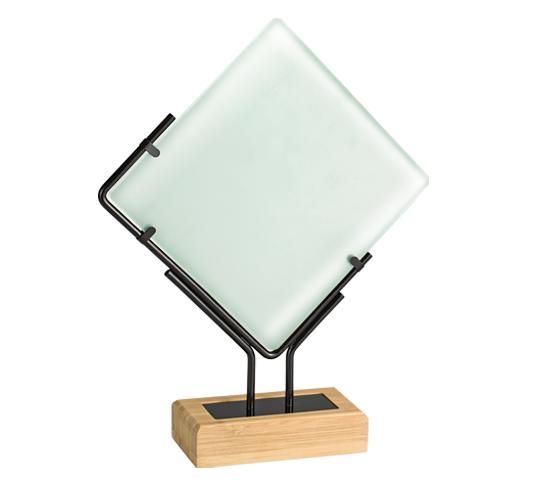 Trofeo in vetro e bamboo personalizzabile serie BA 7