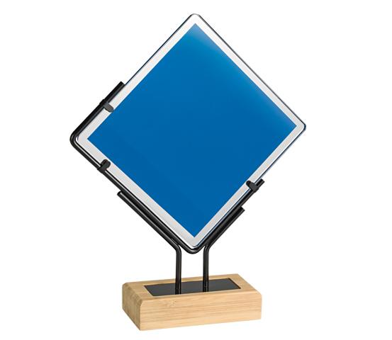 Trofeo in vetro e bamboo personalizzabile serie BA 9