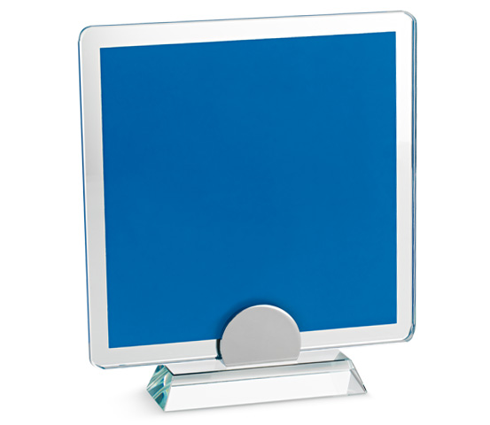 Porta targa in vetro blu con base in vetro serie VT 18