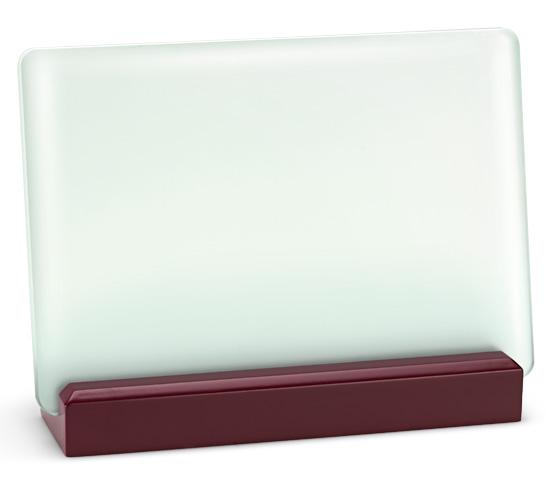 Porta targa in vetro acidato con base legno serie VT 19