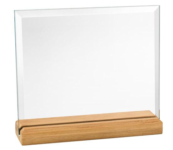 Porta targa in vetro con base in bamboo serie CRI 3400 N
