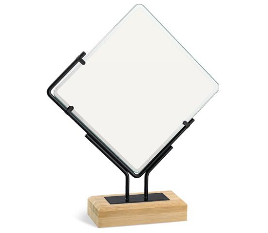 Trofeo in vetro sublimatico e bamboo personalizzabile serie BA 7 SUB
