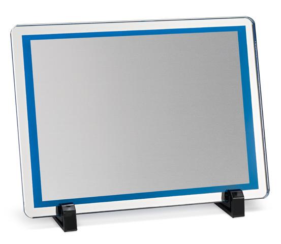 Porta targa in vetro blu serie VT 15