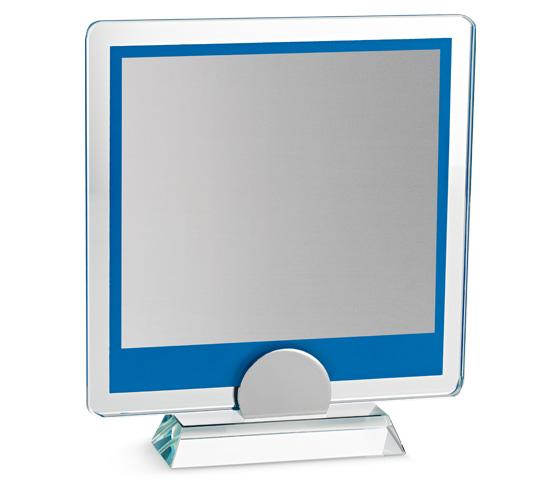 Porta targa in vetro blu con base in vetro e targa serie VT 18T