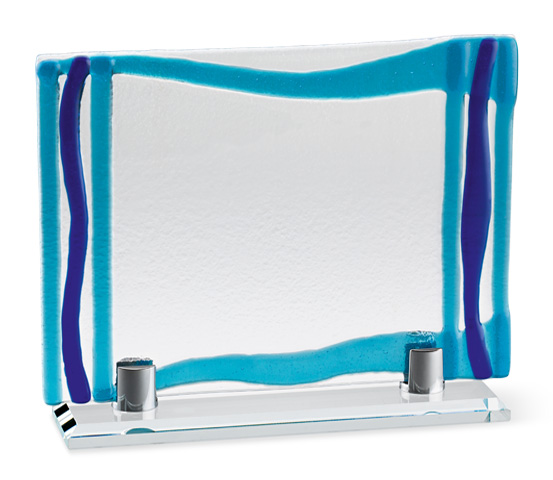 Porta targa in vetro colorato con base vetro serie VT 24