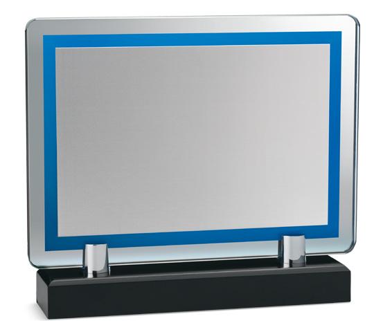 Porta targa in vetro blu con base legno serie VT 25