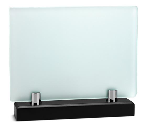 Porta targa in vetro acidato con base legno serie VT 26
