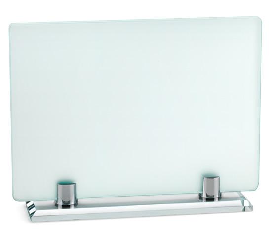 Porta targa in vetro acidato con base vetro serie VT 28