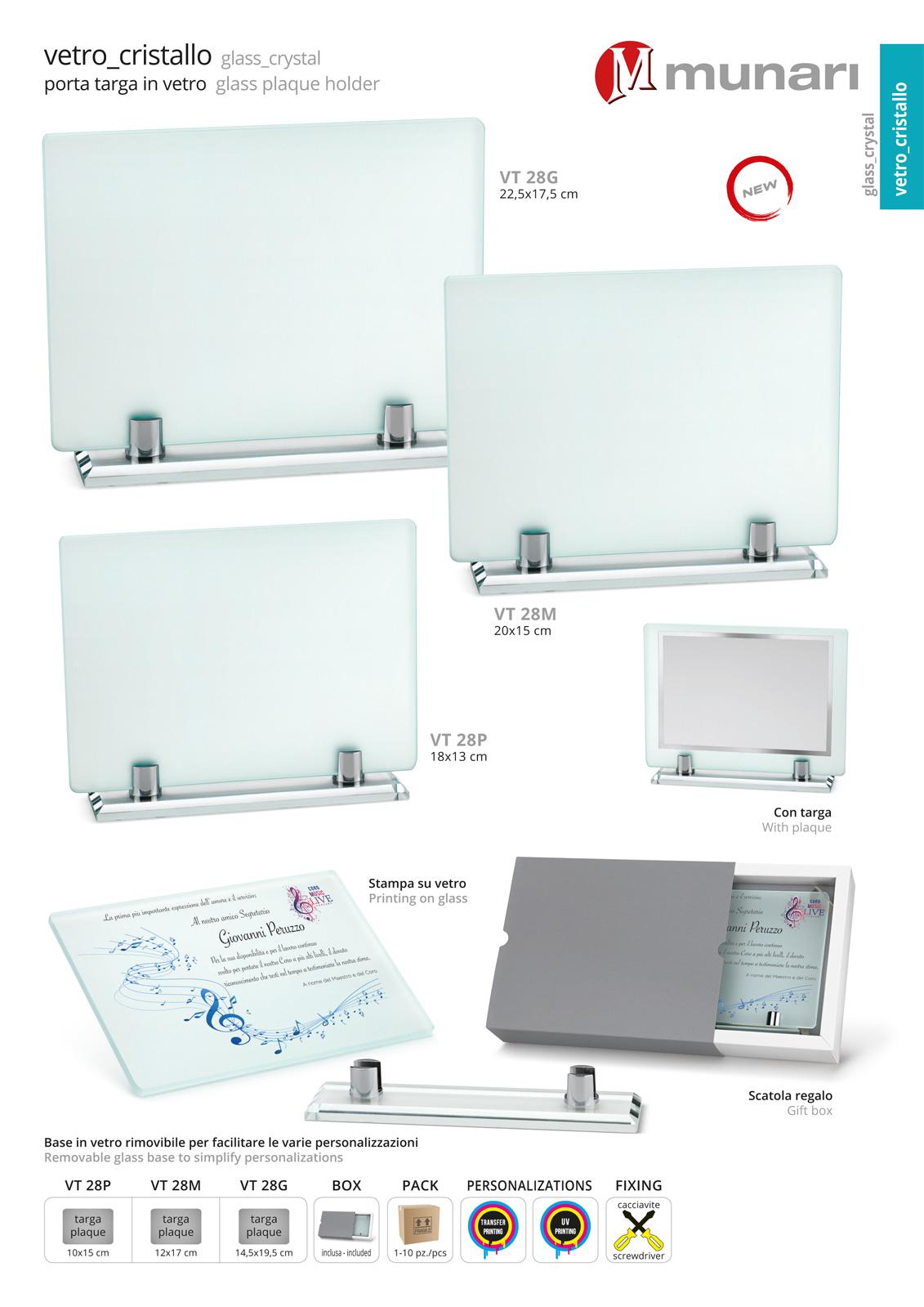 Acid-Etched Glass Plaque Holder Series VT 28