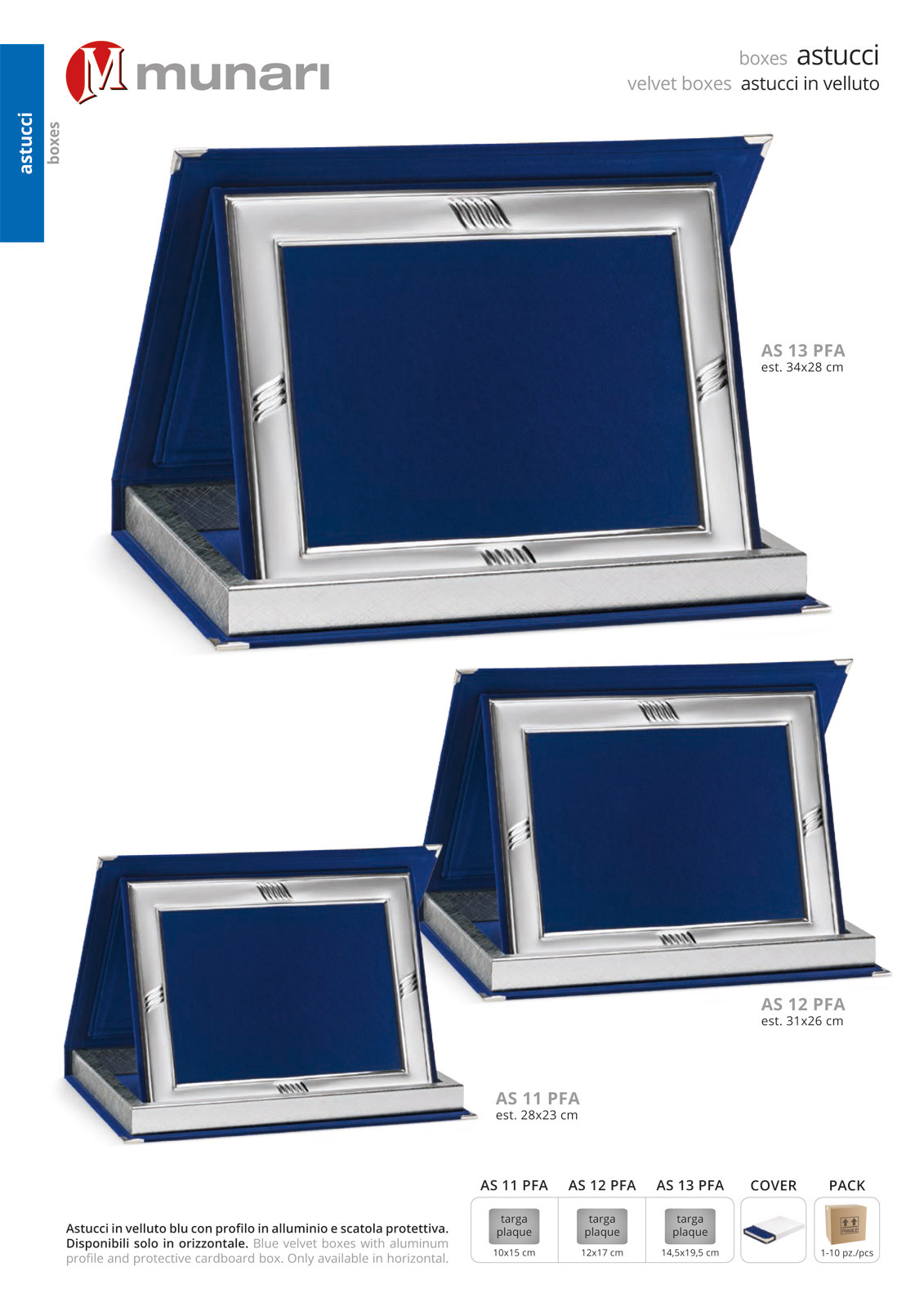 Blue velvet boxes series AS 10PFA with aluminum profile