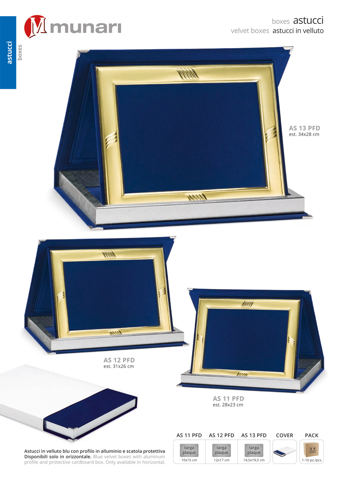 Astucci in velluto blu e profilo per targhe serie AS 10PFD