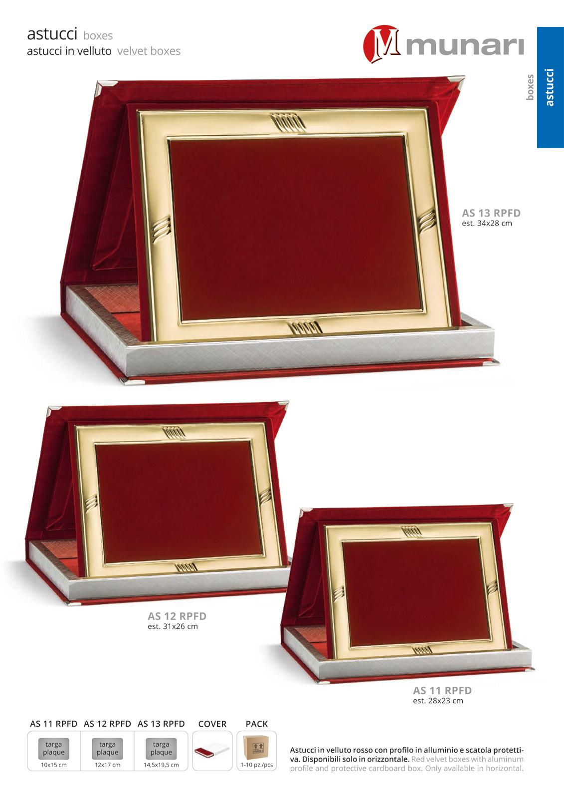 Astucci in velluto rosso e profilo per targhe serie AS 10RPFD