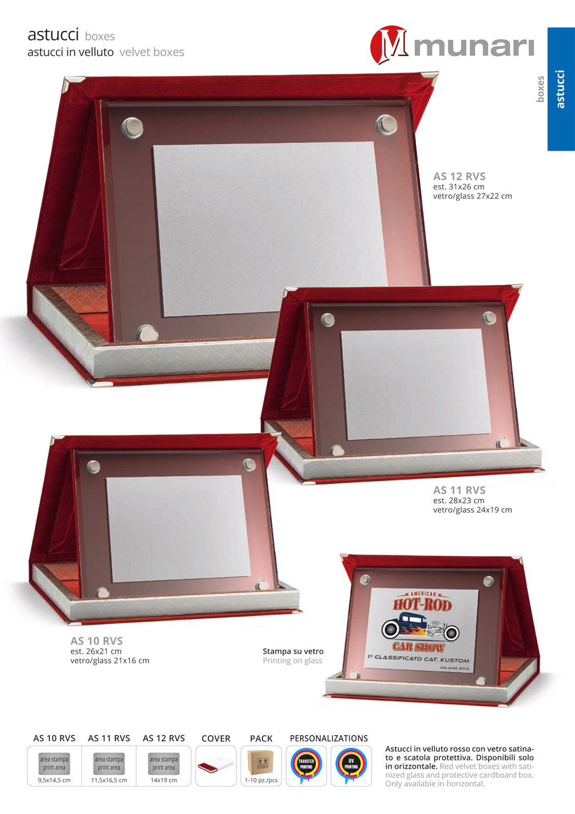 Red velvet boxes series AS 10RVS with glass plaque holder