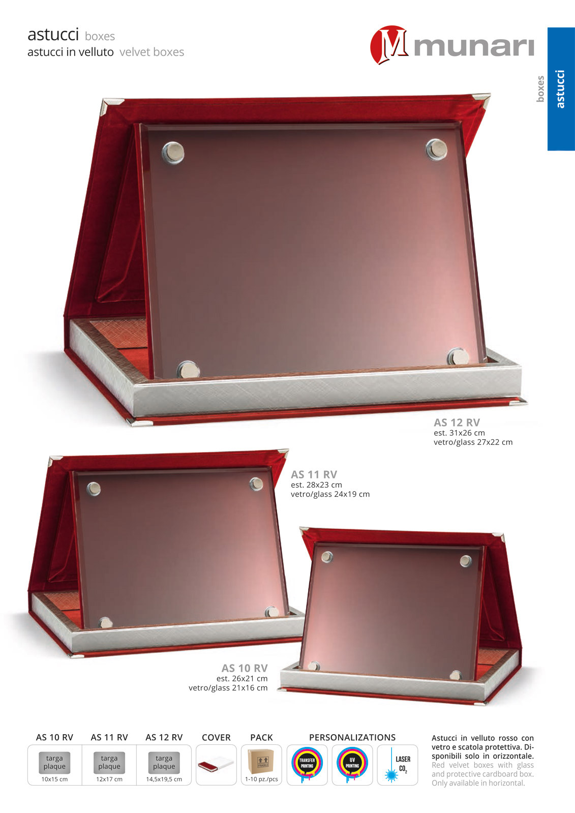 Red velvet boxes series AS 10RV with glass plaque holder