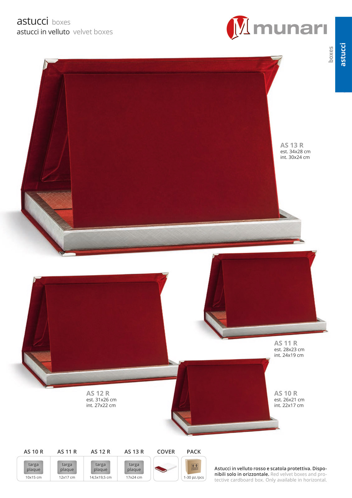 Astucci in velluto rosso per targhe serie AS 10R