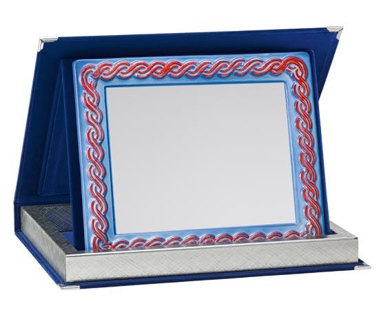 Blue Velvet Boxes with Ceramic Plaque Holder Series AS 10PTC