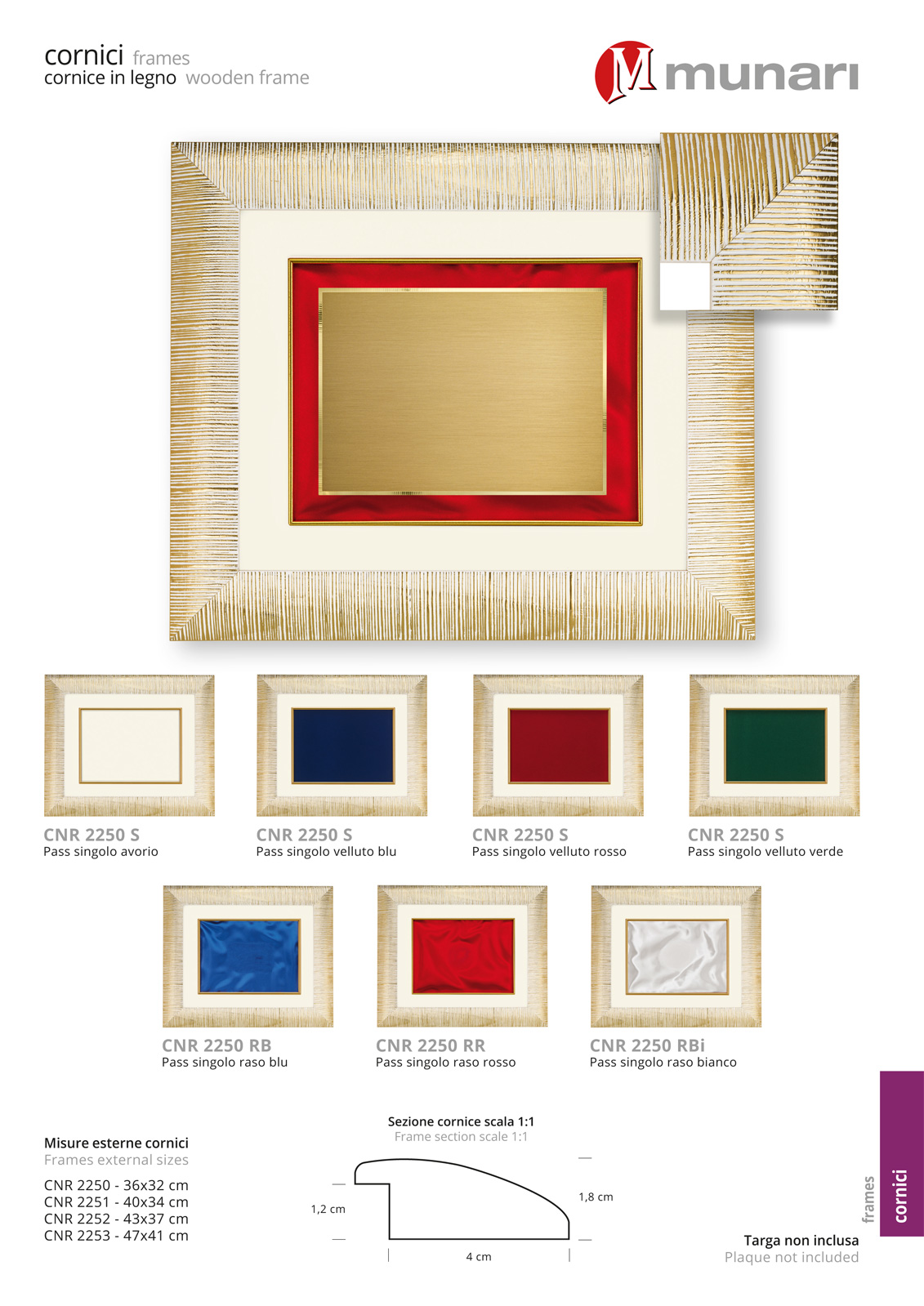 Wooden Frame for Plaque Series CNR 2250