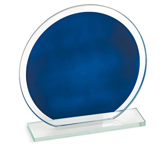 Porta targa in vetro blu con base serie CRI 2100