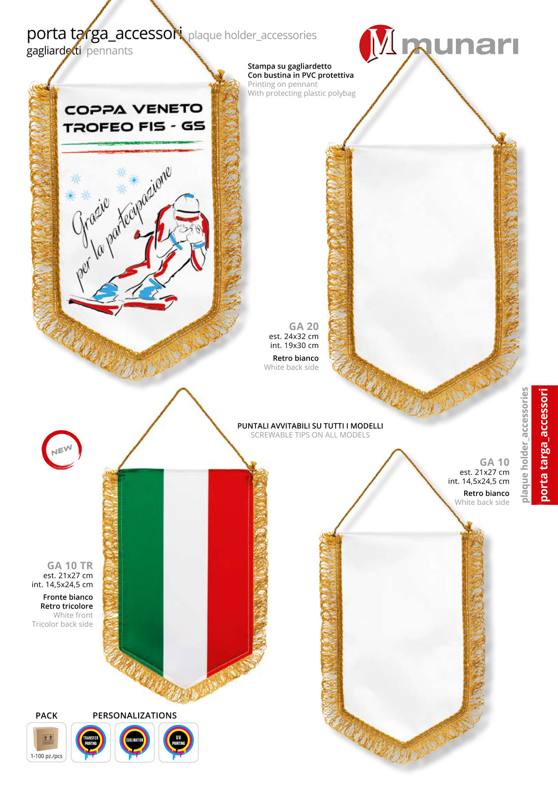 Pennants for sublimation or transfer printing GA 10 GA 20