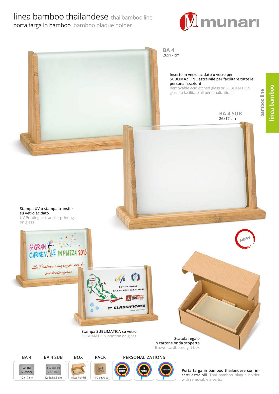 Bamboo plaque holder with sublimation glass BA 4 SUB
