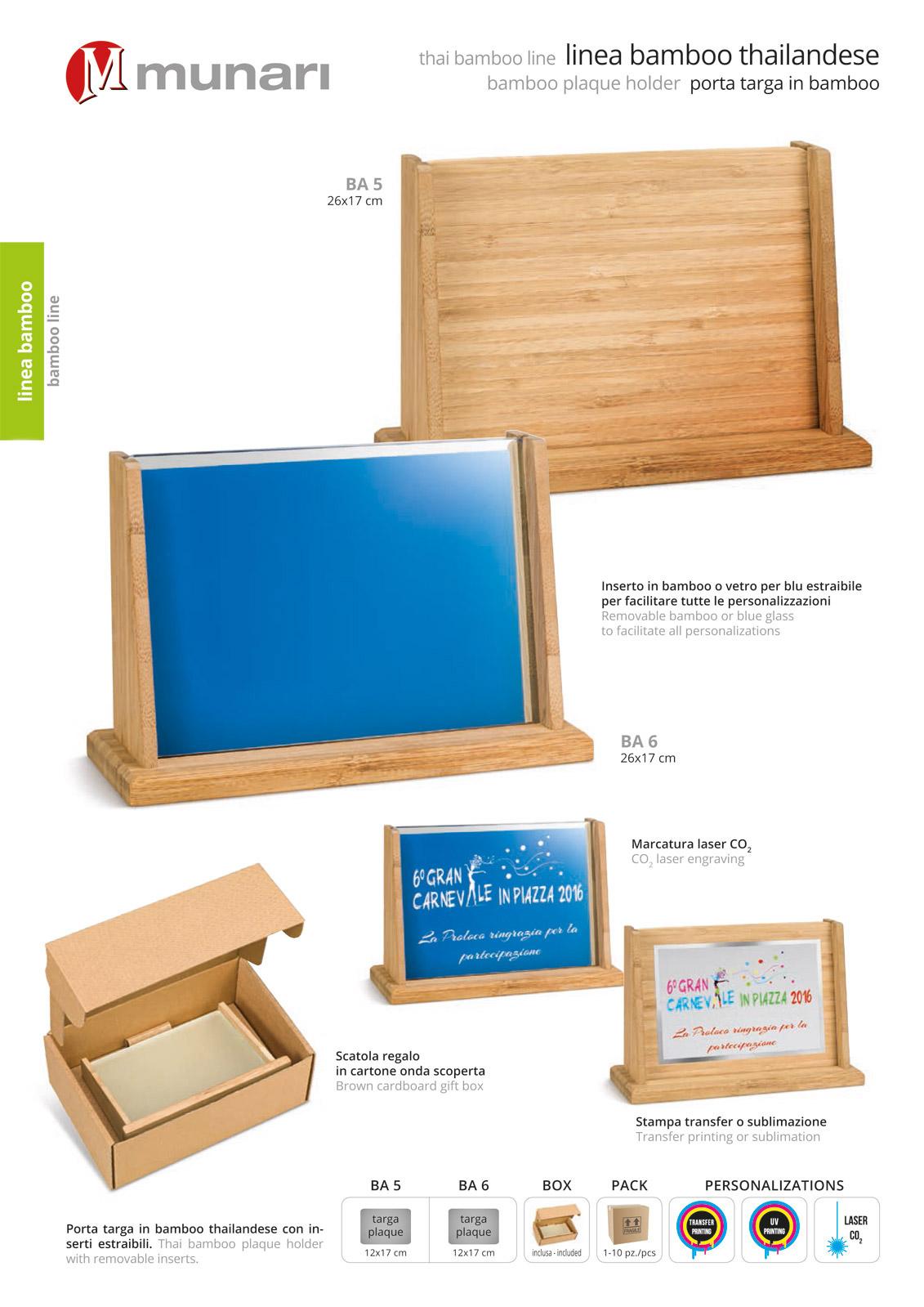 Porta targa in bamboo personalizzabile BA 5