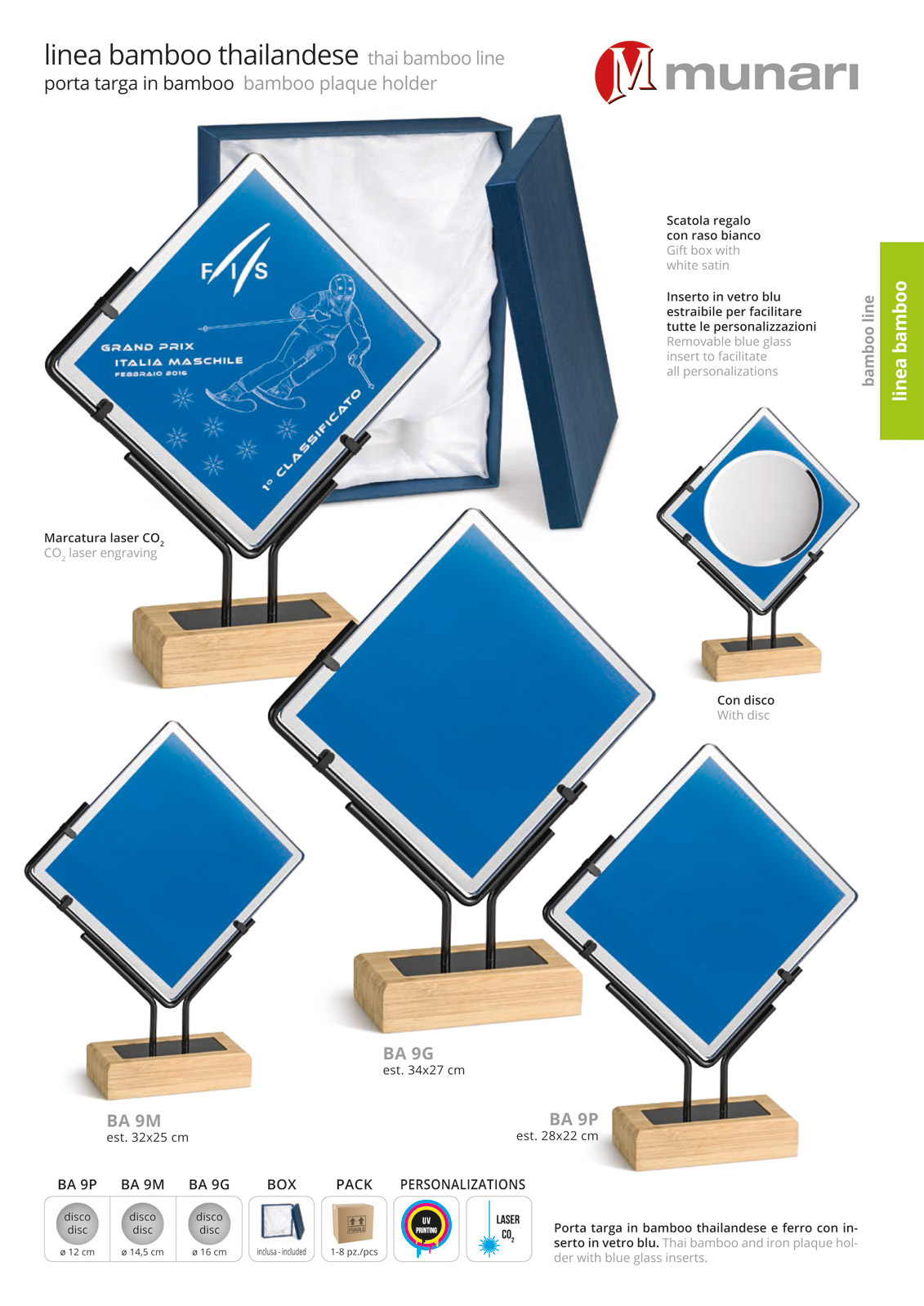 Bamboo trophies with blue glass series BA 9
