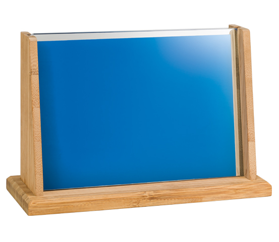 Bamboo plaque holder with blue glass BA 6