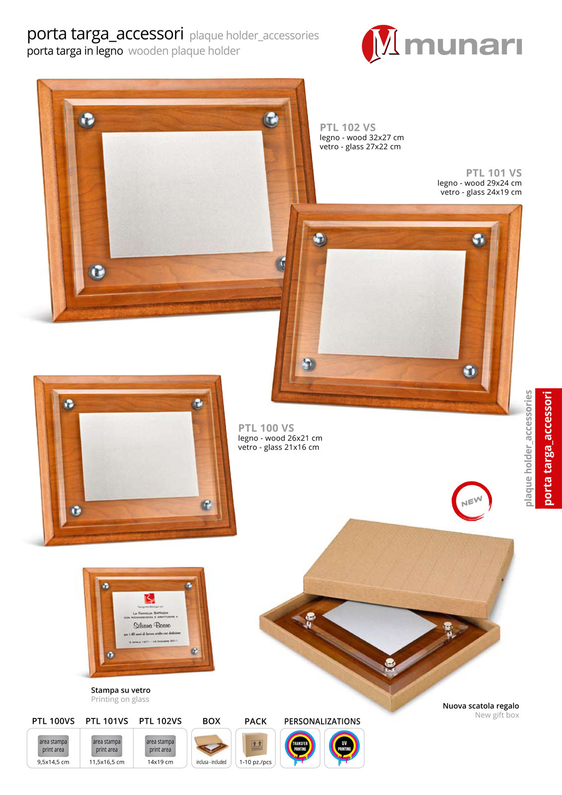 Wooden plaque holder with satinized glass series PTL 100VS
