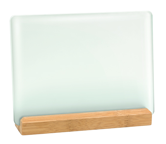 Acid-etched glass plaque holder with bamboo base series BA 10
