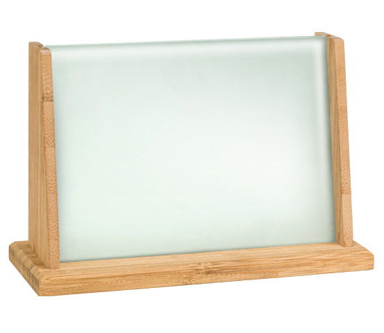 Bamboo plaque holder with acid-etched glass BA 4