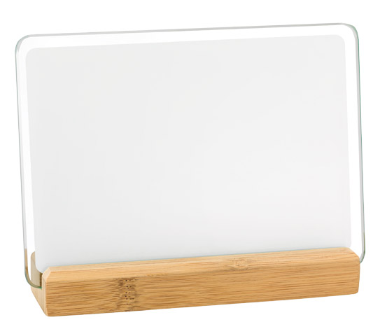 Sublimated glass plaque holder with bamboo base series BA 10 SUB