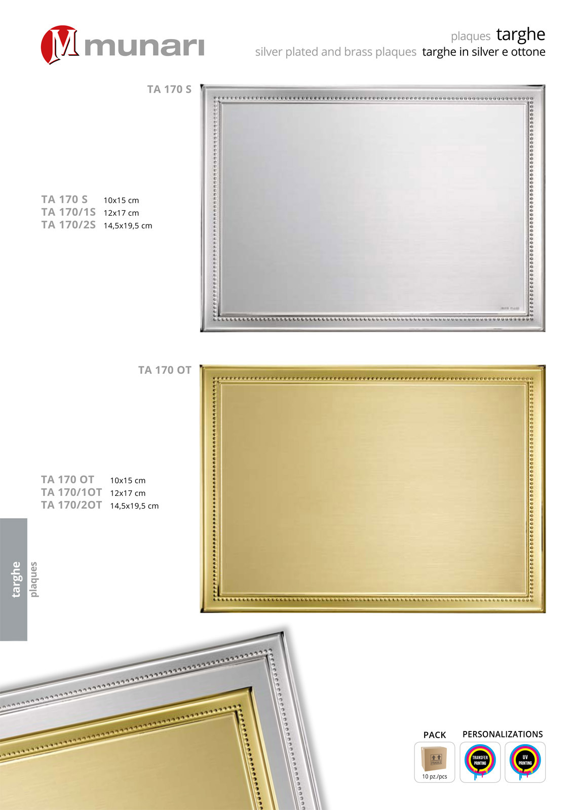 Brass plaques for printing and engraving series TA 170OT