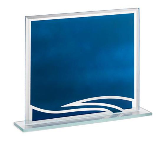 Porta targa in vetro blu con base serie VT 100