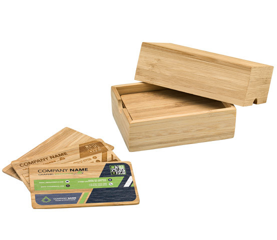 Bamboo business card with card holder LUF 1