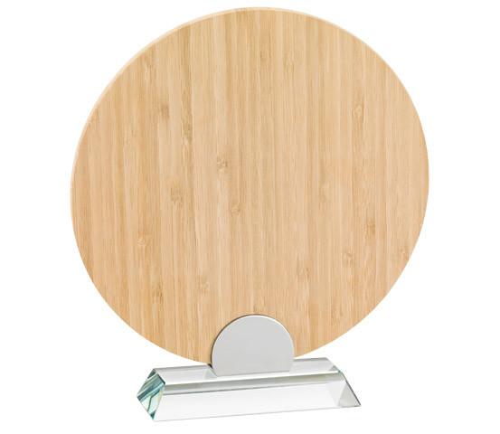 Porta targa in bamboo con base in vetro serie BA 14