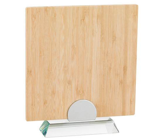 Porta targa in bamboo con base in vetro serie BA 15