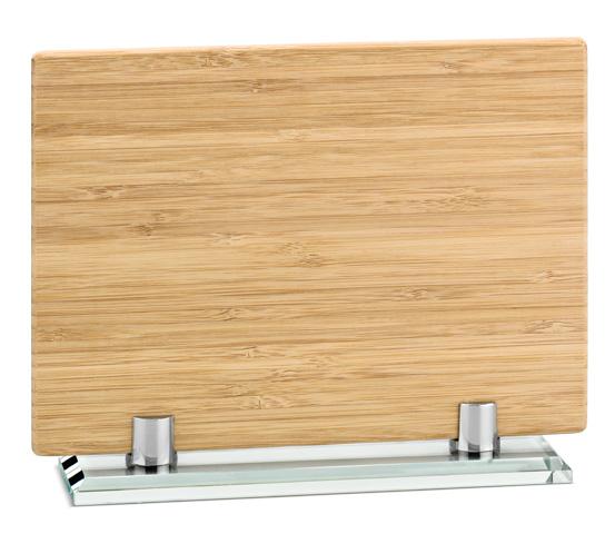 Porta targa in bamboo con base in vetro serie BA 16